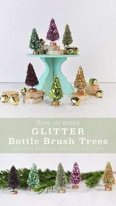 Learn how to take plain bottle brush trees and add colorful glitter to make them into gorgeous Glitter Bottle Brush Trees in just a few easy steps! The perfect craft project for the Christmas Holidays. Delineate Your Dwelling #glitterbottlebrushtrees #glittertrees