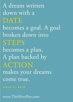 Un sogno scritto con una DATA diventa un obiettivo. Un obiettivo suddiviso in PASSI diventa un piano. Un piano supportato salle AZIONI permette al tuo sogno di diventare realtà!