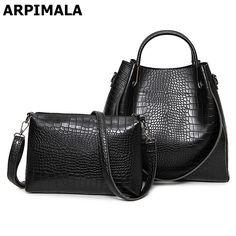 ARPIMALA Crocodile Pattern Bucket Bags Fashion PU Leather Handbags Big Casual Women Messenger Bag Luxury Designer Tote 2 pcs/set