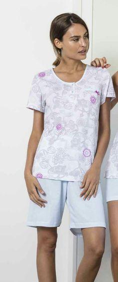 be11495249 Pijama mujer verano en jersey 100% algodón con estampación digital