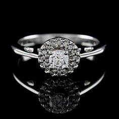 0.50Ct Round Cut Vvs 10K White Gold Solitaire With Accents Ring by JewelryHub on Opensky
