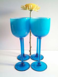 Carlo Moretti Cased Glass Cordial Glasses. by VintageQuinnGifts, $60.00