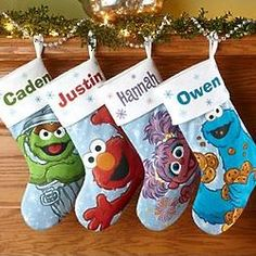 Personalized Sesame Street Fleece Christmas Stocking #elmo #cookiemonster Omg peyton would freak out