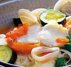Cataplana de bacalhau com legumes