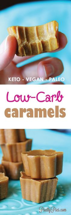 Caramels (Paleo, Vegan & Keto) Unbelievably good and super easy! Melt in your mouth Low-Carb Caramels. No sugar and no dairy! - from Unbelievably good and super easy! Melt in your mouth Low-Carb Caramels. No sugar and no dairy! Low Carb Desserts, Vegan Desserts, Low Carb Recipes, Keto Vegan, Vegan Raw, Keto Candy, Paleo Dessert, No Carb Diets, Keto Snacks