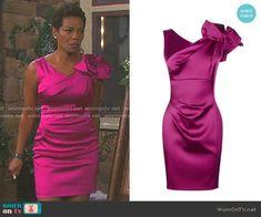 Valerie's pink satin bow shoulder dress on Days of our Lives.  Outfit Details: https://wornontv.net/92908/ #DaysofourLives