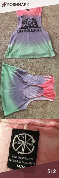 Recycled Karma Shirt pink/purple/green ombre shirt, twisted back, NWOT Recycled Karma Tops Tank Tops
