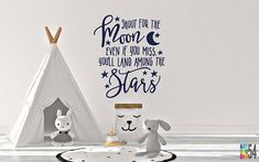 Shoot for the Moon Wall Decal - Vinyl Wall Sticker Decal Indoor Decor Decoration - White, Black, Blue, Gold, - artstudio54
