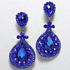Blue Crystal Chandelier Rhinestone Clip On Bridal Drag Queen Pageant Earring
