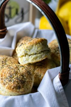Lemon Poppyseed Biscuits - What the Forks for Dinner? Quick Bread, Bagel, Biscuits, Lemon, Dinner, Forks, Breakfast, Crack Crackers, Dining
