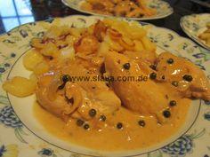 zarte Hähnchenfiletstückchen an Pfefferrahm-Sauce