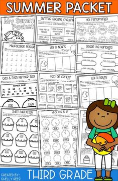 4 Summer Math Worksheets End of the Year Activities and Ideas √ Summer Math Worksheets . Summer Worksheets, 3rd Grade Math Worksheets, Reading Worksheets, Summer School Activities, Math Activities, Babysitting Activities, Teaching Resources, 3rd Grade Reading, Third Grade Math