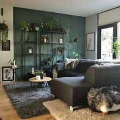 ❤️️ 76 The Most Popular Green Living Room Wall Decorating Ideas 6 - Living room green - Living Room Red, Living Room Colors, Living Room Interior, Living Room Designs, Green Living Room Ideas, Grey Living Room With Color, Tv On Wall Ideas Living Room, Living Room Accent Wall, Best Living Room Wallpaper