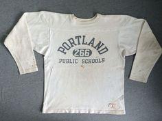 CHAMPION SWEATSHIRT 60's Vintage Sweater Football Jersey Portland INK Cotton L