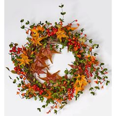 Maple Leaf Wreath Fall Berry on Natural Twig Base 22 in. Twig Wreath, Floral Wreath, Thanksgiving Decorations, Christmas Decorations, Fall Festival Decorations, Artificial Flowers And Plants, Welcome Fall, Fall Wreaths, Autumn Inspiration