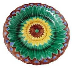 Majolica sunflower plate by Wedgwood, love, love, love!!