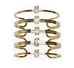 Cuff in 14k gold-plated brass with Swarovski crystals, $180; Susan Hanover