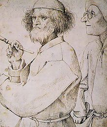 Bruegel l'Ancien, autoportrait. Bruegel (Pieter, dit l'Ancien), peintre flamand (Brögel, Breda, v. 1525- Bruxelles 1569, entre 35 et 45 ans). C'est à Anvers, auprès du peintre Pieter Coecke van Aelst,  qu'il fait son éducation artistique.En 1531, il est reçu franc-maître de la gilde de Saint-Luc. D'un voyage en Italie et en France, il rapportera un nombre considérable de croquis et dessins, dont une grande partie témoigne de son passage au-delà des Alpes.