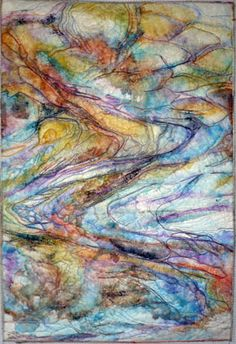 runoff by Laura Cater-Wood - stitched and acrylic paint on Lutradur