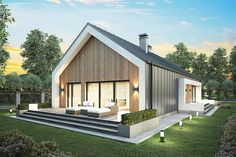 Changing Mansard Roof Design – Porch and Roof Modern Barn House, Modern Cottage, House Roof, Facade House, Roof Design, Exterior Design, Country House Colors, Quonset Homes, House Cladding