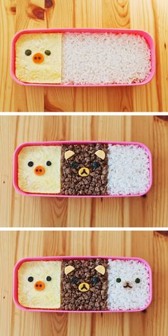 Kawaii 3 Colored Rilakkuma Soboro Kyaraben Bento Recipe Video (English, 2:42)