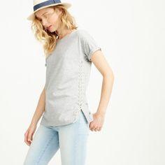 NWT J.Crew Lace-Up Tunic T-Shirt, White, Size Medium, $59.50, Style C3833  | eBay