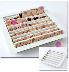 this site has some great craft storage ideas like this one:  Louver Stamp Tray