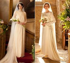 Lady Mary & Lady Edith in their wedding gowns.