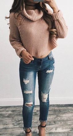 5614ea0b81 how to wear a sweater   ripped jeans + heels