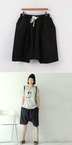a6322fa539c3 Women Fashion Knee Length Drop Crotch Harem Pants Elastic Waist Loose Solid  Color S-XL