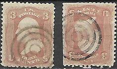 US 19th Century # 65 - 3¢  George Washington, Bulls-Eye Cancels 2 singles #cc