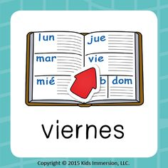 """Just tell your students that this word represents their FAVORITE day of the school week and they won't have any trouble remembering how to say """"Friday"""" in #Spanish! #viernes #WordOfTheWeek #WoW #WoWcard #elementary #edchat #earlyed"""