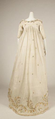 Dress Date: late 1790s Culture: American or European Medium: cotton Dimensions: Length at CB: 48 1/2 in. (123.2 cm)