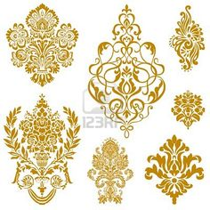 Royalty-Free Vector Clip Art Illustration of a Digital Collage Of Gold Damask Design Elements by BestVector Stencil Patterns, Stencil Designs, Embroidery Patterns, Damask Patterns, Stencils, Free Collage, Digital Collage, Motif Floral, Floral Lace