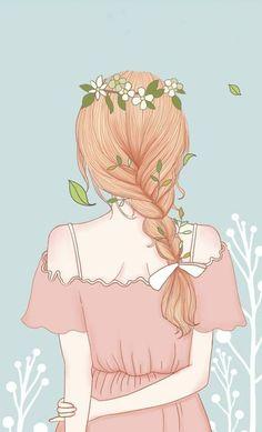Girl Drawing Sketches, Cute Girl Drawing, Girly Drawings, Cartoon Girl Drawing, Anime Girl Drawings, Anime Art Girl, Girl Cartoon, Cartoon Drawings, Smile Drawing