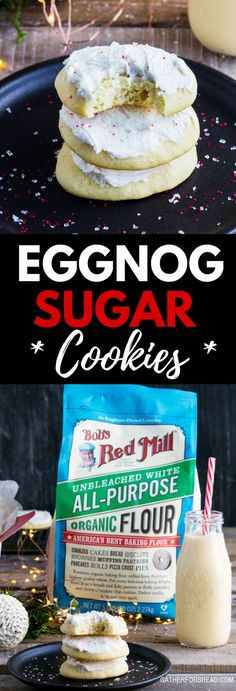 Eggnog Sugar Cookies - Soft sugar cookies made with eggnog and frosted with a simple sweet eggnog frosting. Perfect to give and serve for Christmas and the holidays. | /bobsredmill/