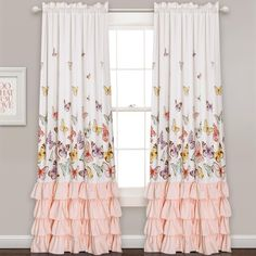 Lush Decor Flutter Butterfly Juvy Window Panel Pink - 84 in. x 52 in.