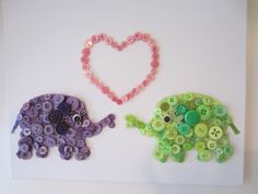 Elephant Button Art - Want to make something similar for my baby's nursery.
