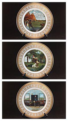 6 Piece Bicentennial Plate Set, Winslow Homer Bicentennial Plate Set, US Bicentennial Society Plate Set, 1973 Winslow Homer Plate Set