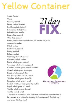 Crystal P Fitness and Food: 21 Day Fix Yellow Food List 2 week diet 21 days 21 Day Fix Extreme, Beachbody 21 Day Fix, 21 Fix, 21 Day Fix Diet, Week Diet, 80 Day Obsession, Nutrition Sportive, 21 Day Fix Meal Plan, 21 Day Challenge