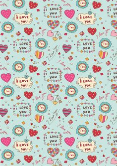 Valentines Day scrapbook paper - I Love You mint