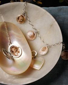 Jewelry embellished with baby photos is sure to charm any new mother or grandmother.
