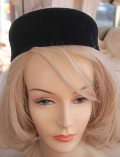 4282a915979 Vintage 1960s Blue Velvet Pillbox Hat NOS New Old Stock  Unbranded  Pillbox  Pillbox Hat