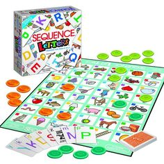 Players sound out the letter on their cards, match it to the beginning sound of a picture on the gameboard, then place a chip there. Each card features a letter