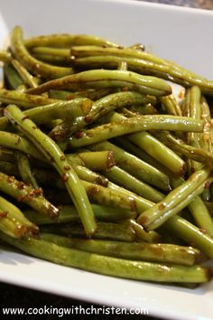 Pan-fried green beans with soy sauce and garlic.
