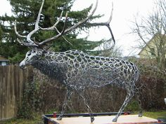 Just finished this elk for the Sportsman Show in Portland next week.  Over 700 used horseshoes!  More photos at www.facebook.com/BudThomasArt
