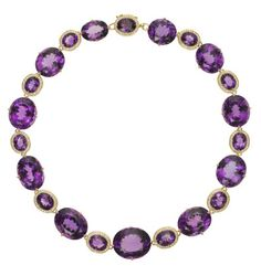 """Temple St. Clair Pavé Halo necklace with amethyst and diamond in 18k yellow gold, $125,000, <a href=""""http://www.templestclair.com/"""">templestclair.com</a> -Wmag"""
