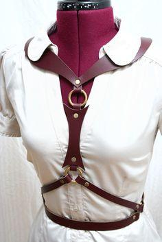 Angelina Oxblood Elegant Leather Harness Belt corset bustier. $195.00, via Etsy.