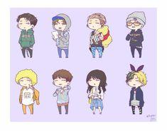 Kim Ji Won, Hanbin, Kpop, Bigbang, Fan Art, 2ne1, Bobby, Sticker, Fictional Characters