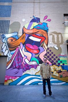 Streetartist POSE MSK posing by his NYC mural for L.I.S.A. Project #streetart #NewYork #POSE